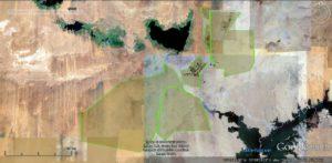شكل 12 صورة جوية تظهر الحيز المستهدف إستصلاحه بمشروع توشكي وما تم بالفعل حتى عام 2014 | جوجل إرث
